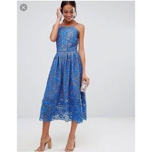 dc46d767d62e Warehouse Blue Lace Midi Dress